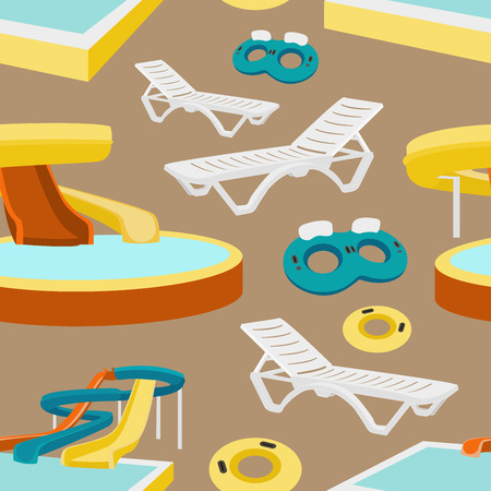 infant bathing: Water amusement park pattern with slides and splash pads for family fun set abstract illustration. Vector illustration, EPS 10
