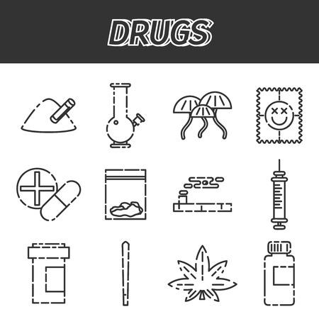 Narcotic drugs icon. Vector illustration Illustration