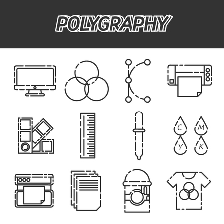 gamma: Polygraphy flat icons set. Spectrum and gamma, technology equipment, ink and palette, vector illustration