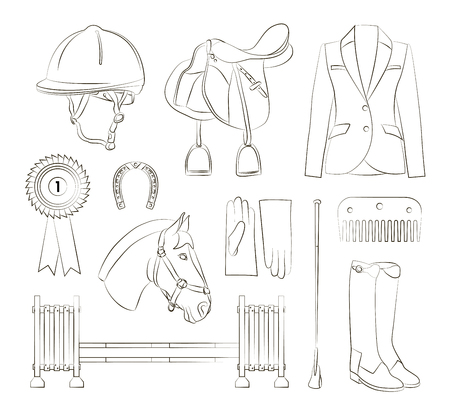 kiddie: Set of different quipment for horses. Equestrian objects. Isolated elements.