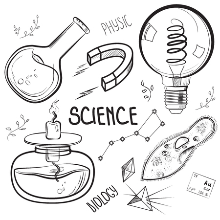 science class: Hand drawn science set. Sketch elements. Laboratory instruments and chemical formula