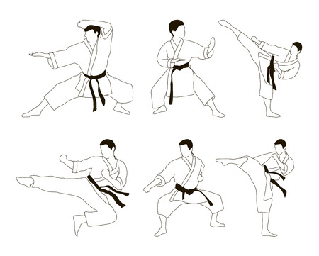 applicable: Set of six vector icons of full body man doing powerful kicks and punches. Applicable to Karate and Taekwondo.