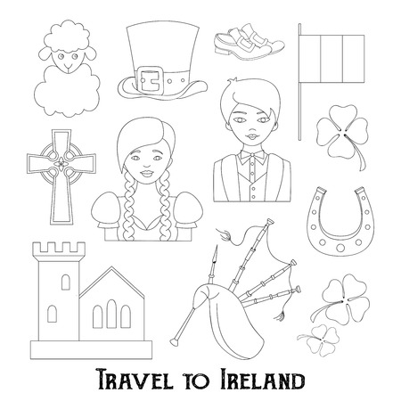 hand knot: Hand drawn doodle Ireland set Vector illustration Sketchy Irish traditional food icons Republic of Ireland elements Flag Map Celtic Cross Knot Castle Leprechaun Shamrock Harp Pot of gold Travel icons. Illustration