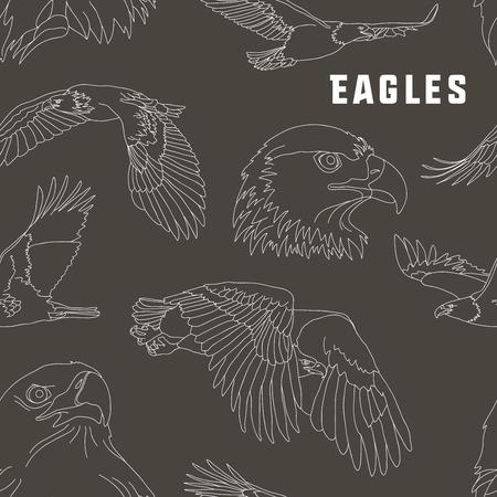 eagle flying: Set of eagles pattern. Flying eagle. Vector illustration