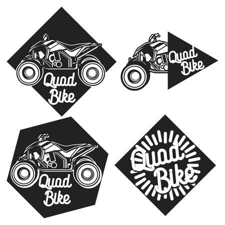 quad: Hand drawn Vintage quad bike emblems Illustration