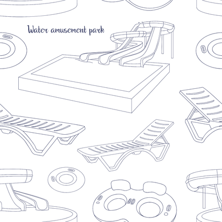 infant bathing: Water amusement park pattern with slides and splash pads for family fun set abstract illustration. Vector illustration Illustration