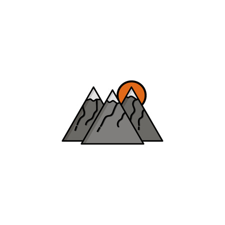 Hunting icon. Mountains. Flat style Vector illustration