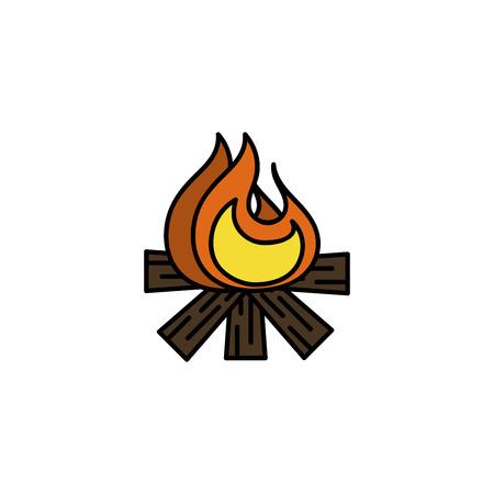 Hunting icon. Bonfire. Flat style Vector illustration Illustration