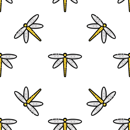 stag beetle: Insects flat icons pattern for design. Vector illustration