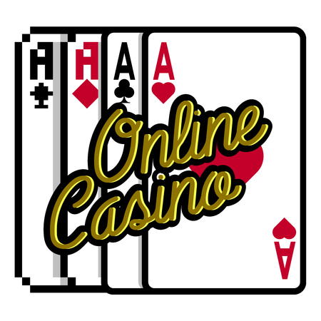 Color vintage online casino emblem. Vector illustration