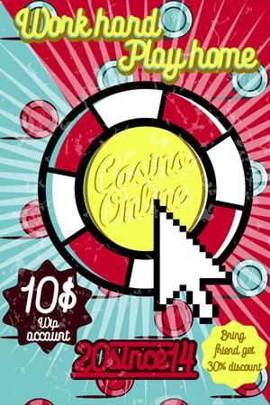 online roulette: Color vintage online casino poster. Vector illustration