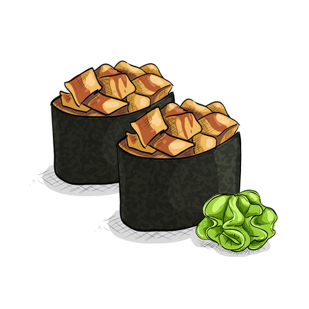 nori: Vector sushi color sketch, Gunkan Spicy Unagi. Vector illustration