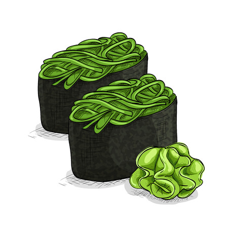 nori: Vector sushi color sketch, Gunkan Chuka Seaweed. Vector illustration