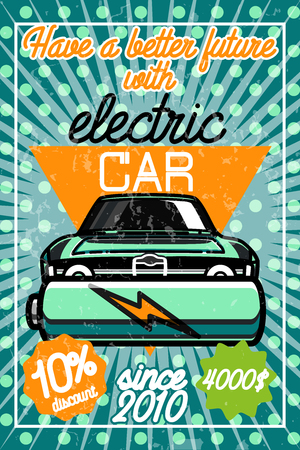 explaining: Infographic poster about electric cars. Modern vector illustration explaining the benefits of electric cars.