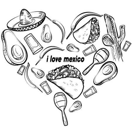 Mexico love - heart with set of vector illustrations  イラスト・ベクター素材