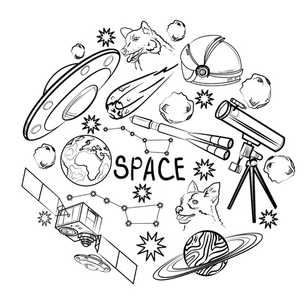 Set of space elements. Astronaut, Earth, Saturn, Moon, UFO, Rocket Comet Constellation Sputnik and stars