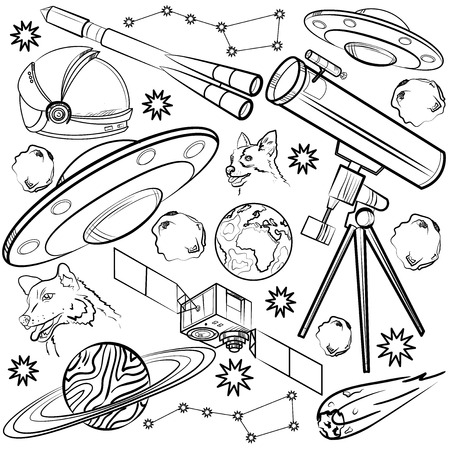 sputnik: Set of space elements. Astronaut, Earth, Saturn, Moon, UFO, Rocket Comet Constellation Sputnik and stars