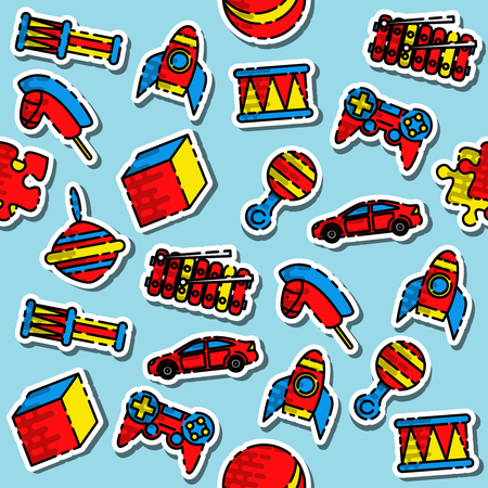 Colored toys pattern. Variety of childrens toys. Vector illustration