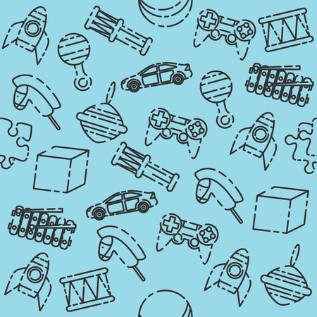 Toys pattern. Variety of childrens toys. Vector illustration