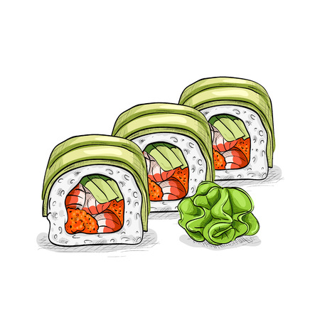 japanese cuisine: Vector sushi color sketch, Dragon roll. Japanese cuisine, traditional food icon. Perfect isolated vector illustration
