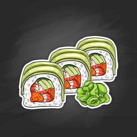 nori: Vector sushi color sketch, Dragon roll. Japanese cuisine, traditional food icon. Perfect isolated vector illustration