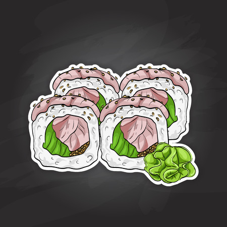 nori: Vector sushi color sketch, Hamachi roll. Japanese cuisine, traditional food icon. Perfect isolated vector illustration
