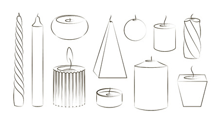 Candles icon set. Vector illustration