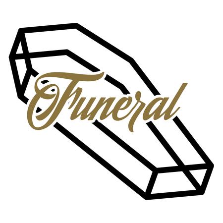 burial: Color vintage funeral emblem, logo, badge. Vector illustration