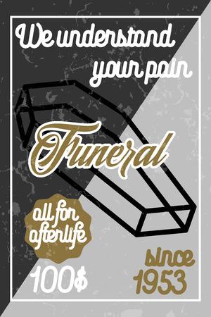 rest in peace: Color vintage funeral poster. Vector illustration