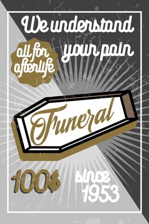 burial: Color vintage funeral poster. Vector illustration
