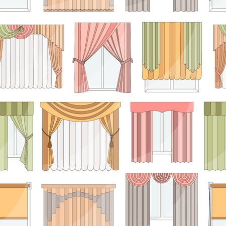 roman blind: Collection of Different curtains and blinds for interior design pattern Illustration