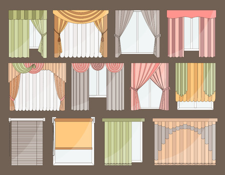 roman blind: Collection of Different curtains and blinds for interior design