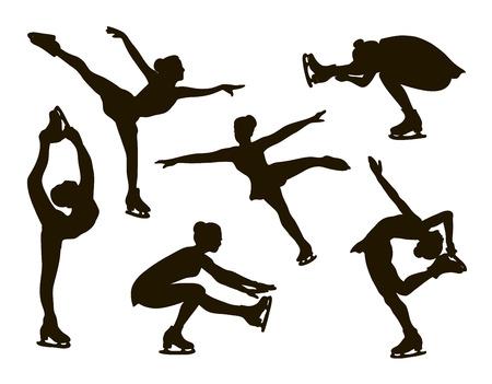 establece el patinaje artístico. Siluetas femeninas. ilustración vectorial
