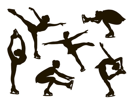 Figure skating set. Female silhouettes. Vector illustration