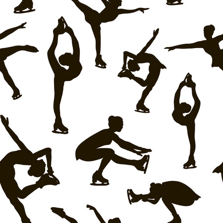 Figure skating set pattern. Female silhouettes. Vector illustration