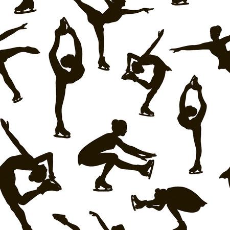 Kunstschaatsen set patroon. Vrouwelijke silhouetten. Vector illustratie Stock Illustratie