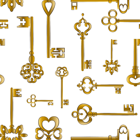 composed: Ornamental medieval vintage keys pattern with intricate forging, composed of fleur-de-lis elements, victorian leaf scrolls and heart shaped swirls.