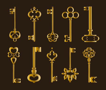 forging: Ornamental medieval vintage keys with intricate forging, composed of fleur-de-lis elements, victorian leaf scrolls and heart shaped swirls.