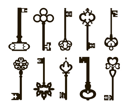 Ornamental medieval vintage keys with intricate forging, composed of fleur-de-lis elements, victorian leaf scrolls and heart shaped swirls.