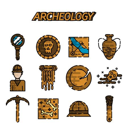archeology: Set of flat archeology flat icon set for your design