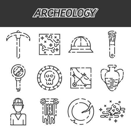 archeology: Set of archeology flat icon set for your design