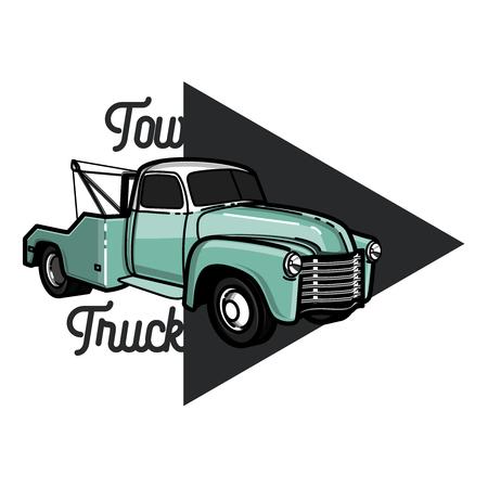 Vintage car tow truck emblem, label and design elements