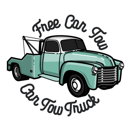 Vintage car tow truck emblem, label and design elements