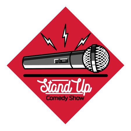 comedy: Color vintage Stand up comedy show emblem, logo and badge at white background. Illustration
