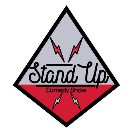 comedian: Color vintage Stand up comedy show emblem, logo and badge at white background. Illustration