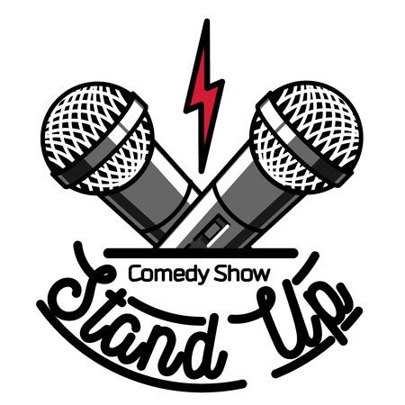Color vintage Stand up comedy show emblem, logo and badge at white background. Illustration