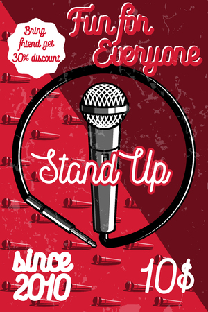 comedy show: Color vintage Stand up comedy show poster. Vector illustration