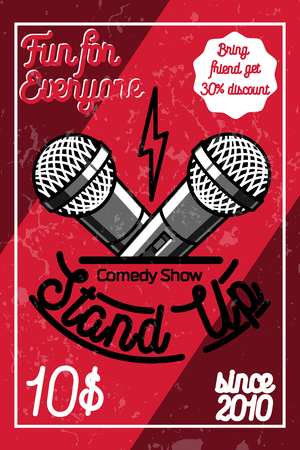comedy: Color vintage Stand up comedy show poster. Vector illustration