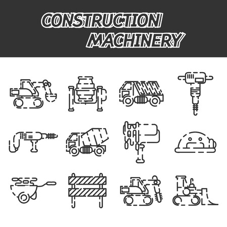 crawler: Construction machinery set design isolated on white background. Tall crane lifts the concrete slab or releases. Heavy machine concrete mixer, loader and crawler crane. Vector illustration Illustration
