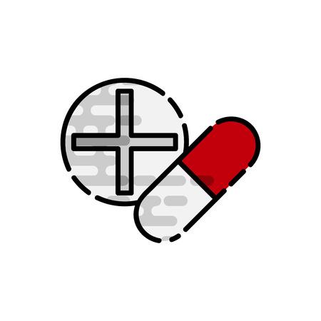 Drugs flat icon. Medical symbol. Vector illustration